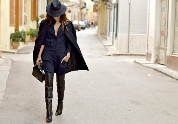 style by yellow button, how to wear, where to buy, sbyb, style heroine, navy and black, women's fashion, style, fashion, hat, boots, trend, shop it, buy it