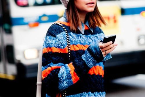 sweater-knitted-stripes-orange-blue-miroslava-duma-beanie-denim-shirt