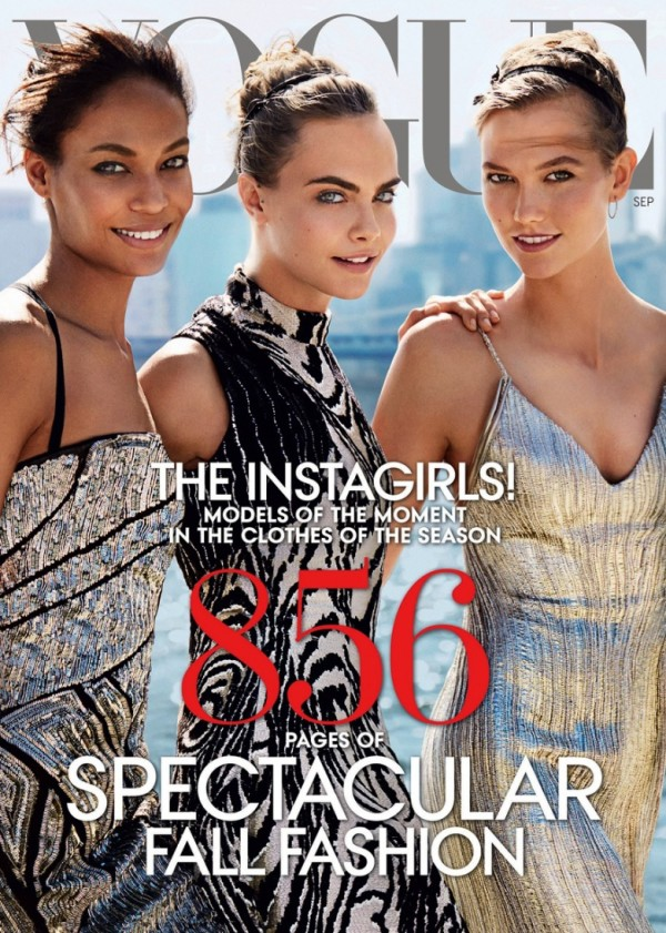 Vogue, September Issue, 2014, editorial, supermodels, models, social media, instagram, twitter, facebook, video, Karlie Kloss, Cara Delevingne, Joan Smalls, Mario Testino, Style by Yellow Button, sbyb, vogue.com,