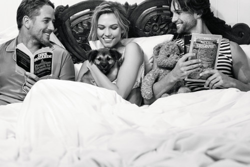 Karlie Kloss with rescue dog, Hollywood, Luke Flynn (son of Errol) LEFT  and model and musician Max. Photo by Bruce Weber, Courtesy PORTER