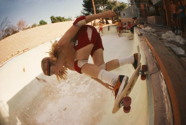 Stacy Peralta Ripping at Coldwater Canton Pool 1977 © Hugh Holland co Blender Gallery