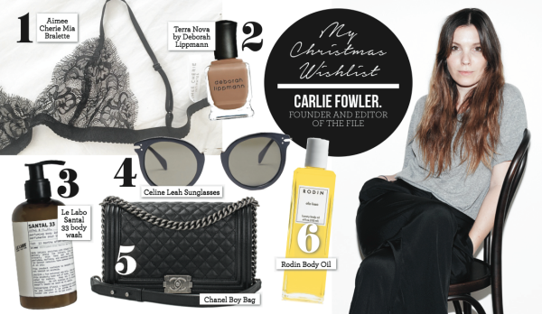 FOUNDER AND EDITOR OF THE FILE, CARLIE FOWLER SHARES HER XMAS WISH LIST