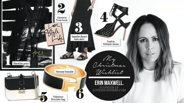 FOUNDER OF LOVESHOPSHARE.COM, ERIN MAXWELL SHARES HER XMAS WISH LIST
