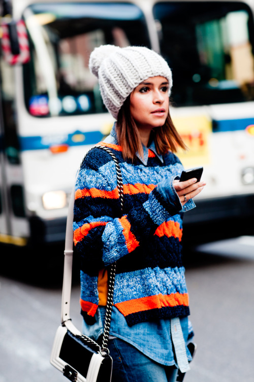 sweater-knitted-stripes-orange-blue-miroslava-duma-beanie-denim-shirt