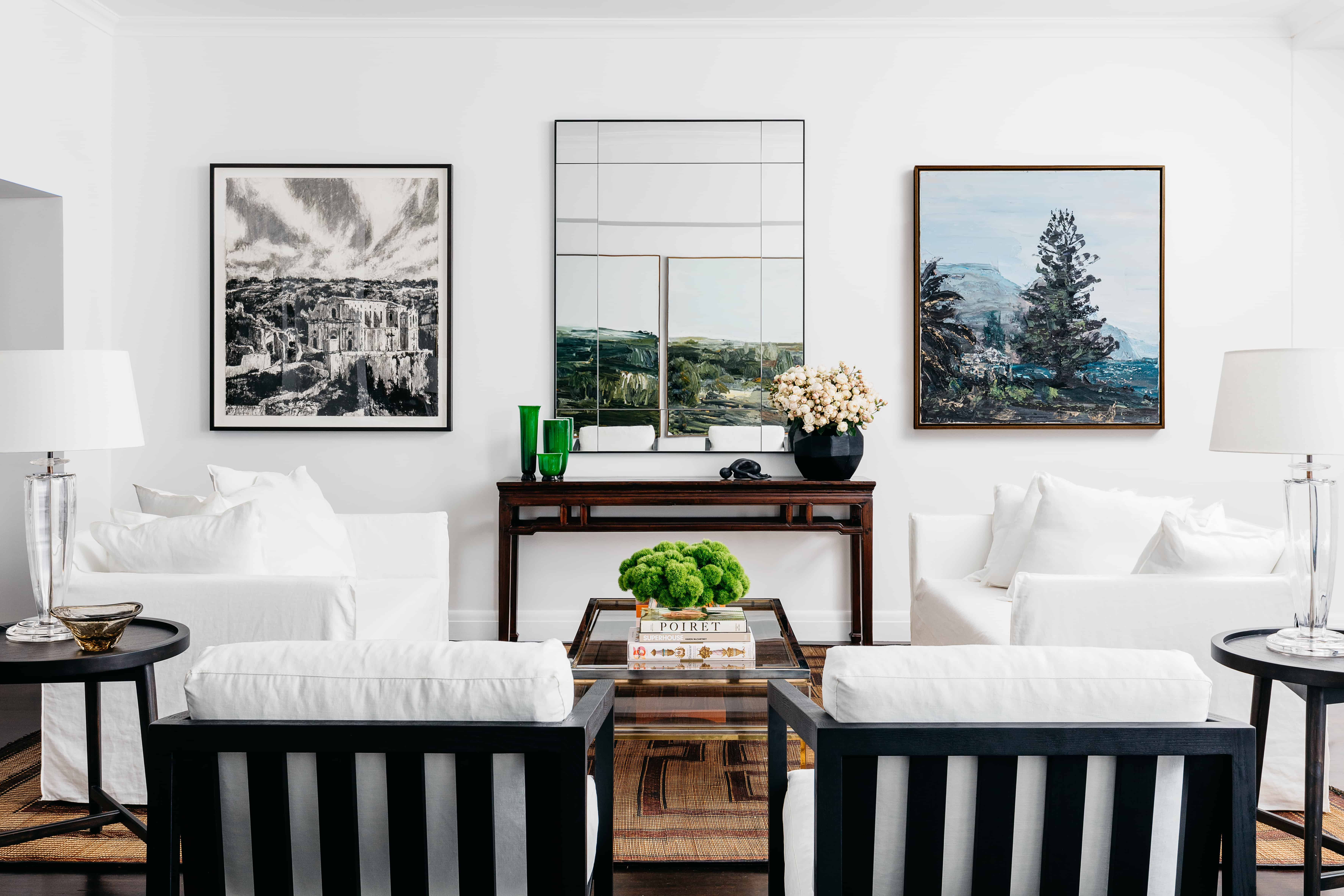 Golf House Living_ From left to right_Nicholas Harding (ink on paper from Olsen Irwin, Woollahra, Paul Ryan oil on linen from Olsen Irwin, Woollahra, Guaxs vase from Conley and Co